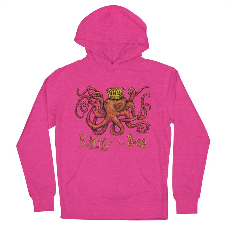 Red Octopus - King of the Sea! Women's French Terry Pullover Hoody by dotsofpaint threads