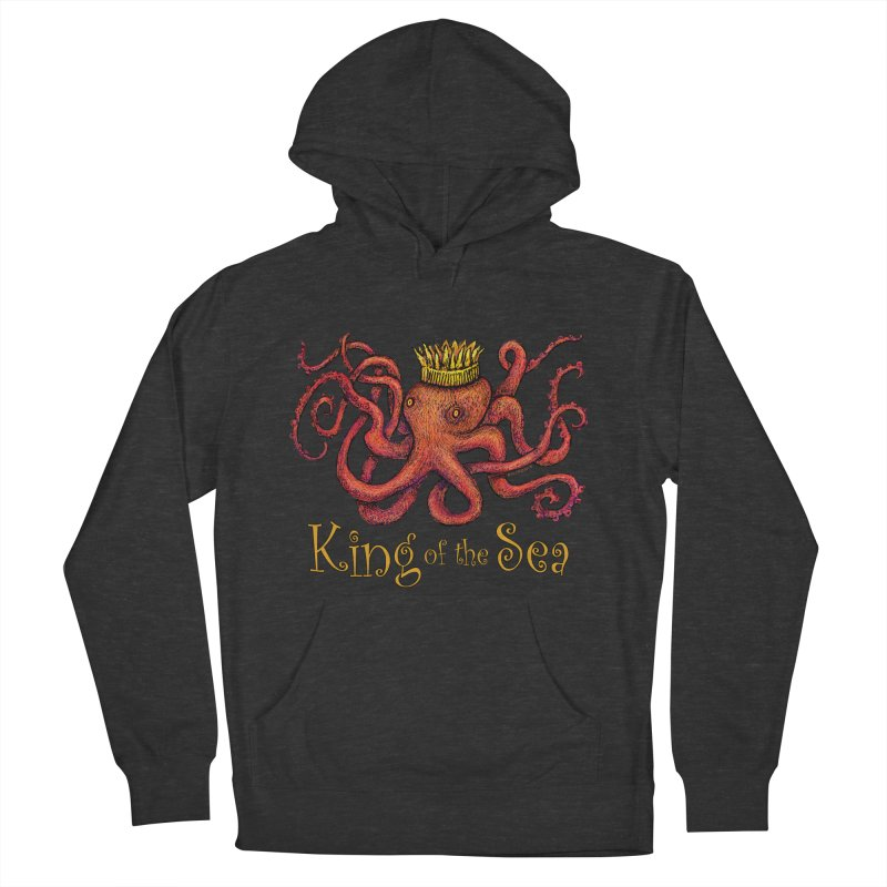 Red Octopus - King of the Sea! Men's French Terry Pullover Hoody by dotsofpaint threads