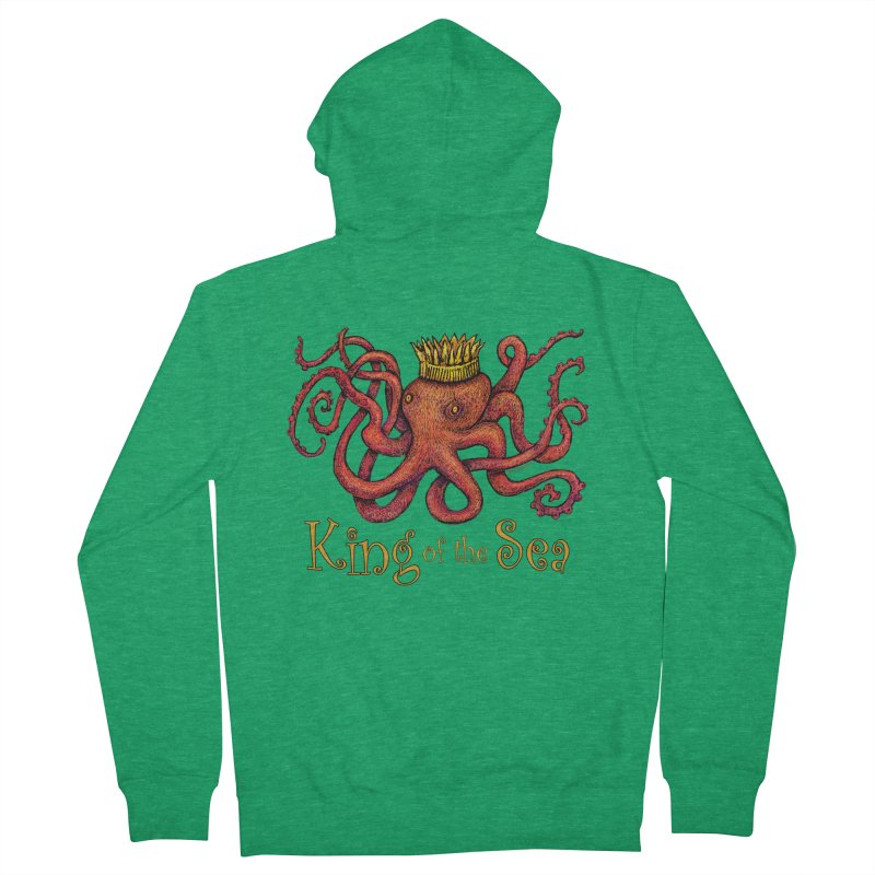 Red Octopus - King of the Sea! Women's French Terry Zip-Up Hoody by dotsofpaint threads