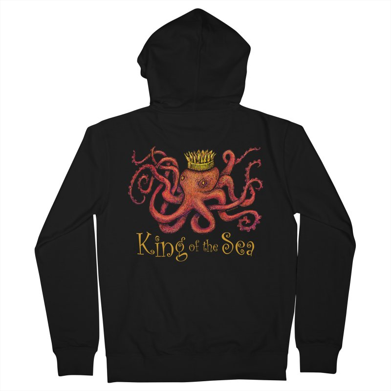 Red Octopus - King of the Sea! Men's French Terry Zip-Up Hoody by dotsofpaint threads