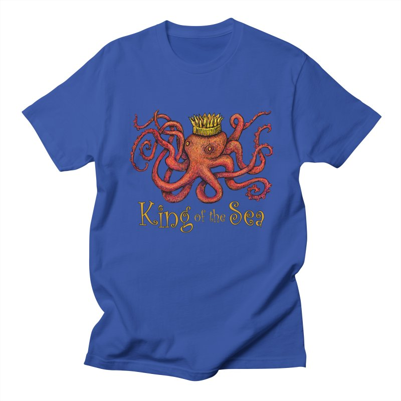Red Octopus - King of the Sea! Men's Regular T-Shirt by dotsofpaint threads