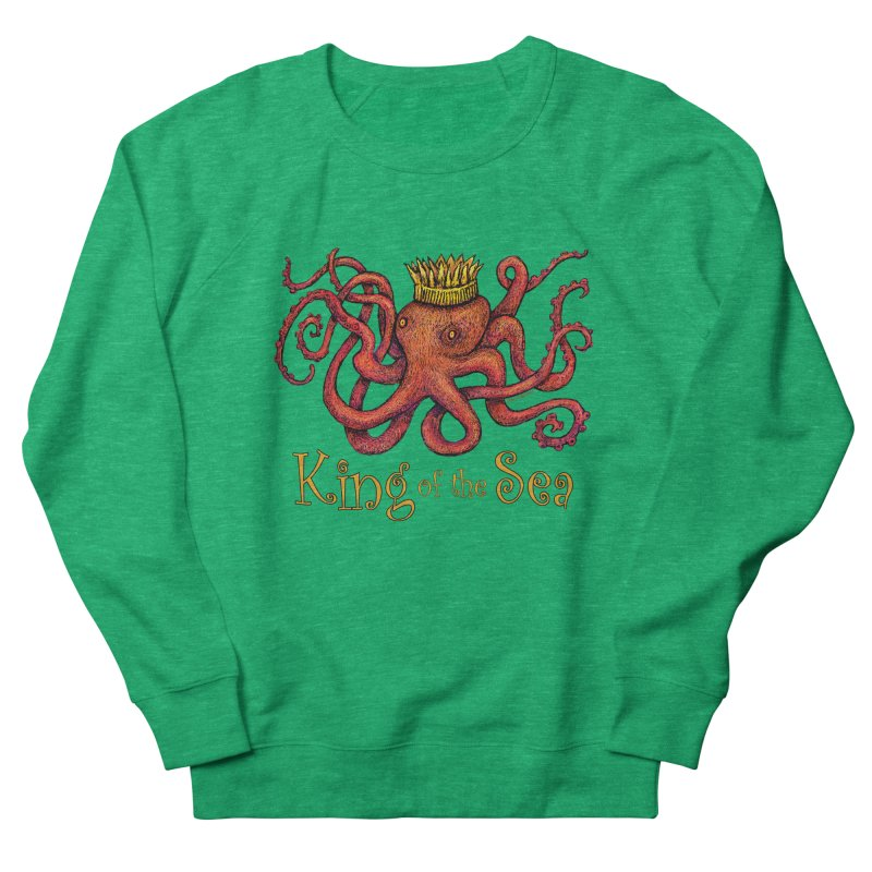 Red Octopus - King of the Sea! Women's French Terry Sweatshirt by dotsofpaint threads