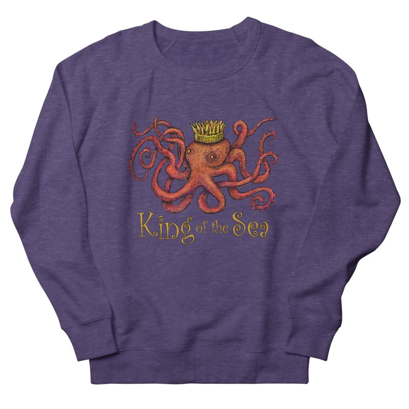 Red Octopus - King of the Sea! Men's French Terry Sweatshirt by dotsofpaint threads
