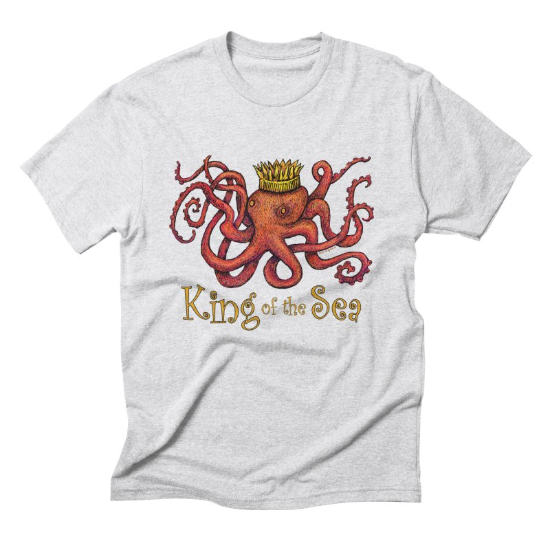 Red Octopus - King of the Sea! Men's Triblend T-Shirt by dotsofpaint threads