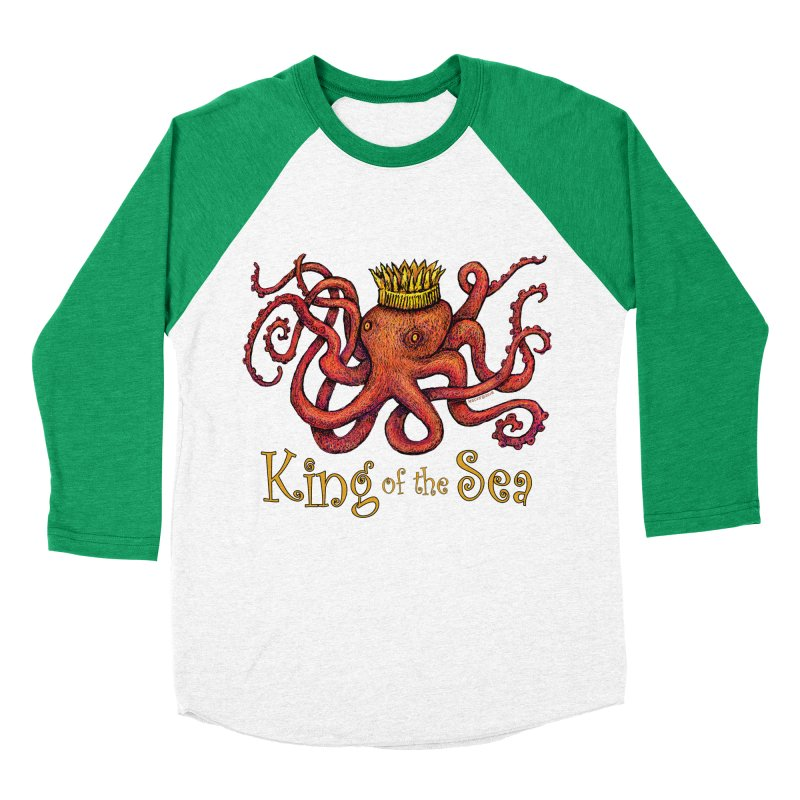 Red Octopus - King of the Sea! Women's Baseball Triblend Longsleeve T-Shirt by dotsofpaint threads