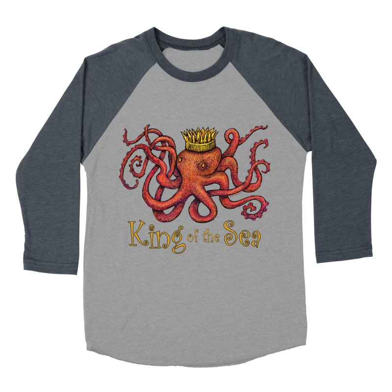 Red Octopus - King of the Sea! Men's Baseball Triblend Longsleeve T-Shirt by dotsofpaint threads