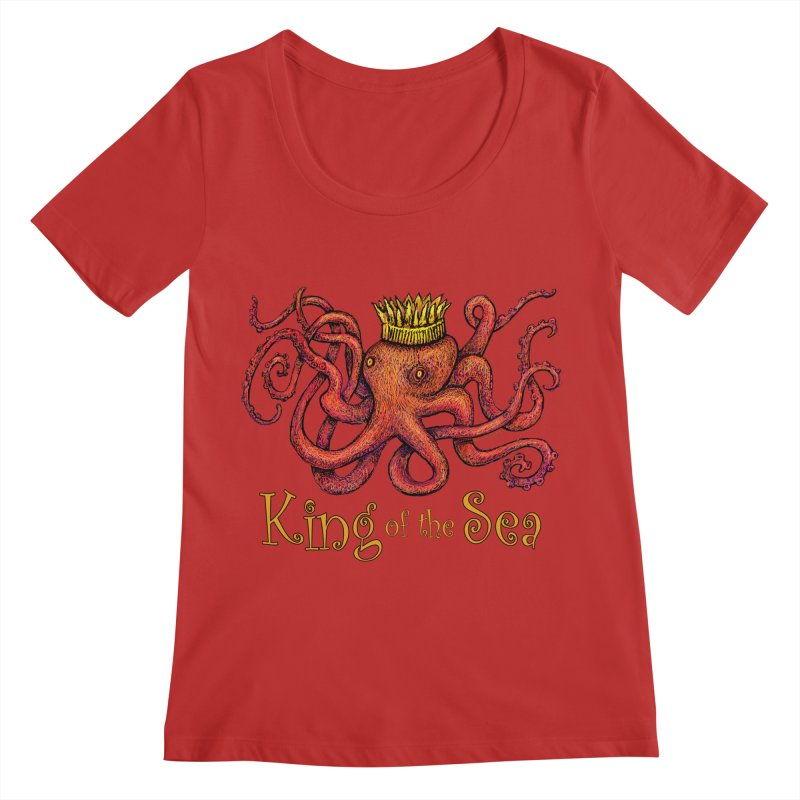 Red Octopus - King of the Sea! Women's Regular Scoop Neck by dotsofpaint threads
