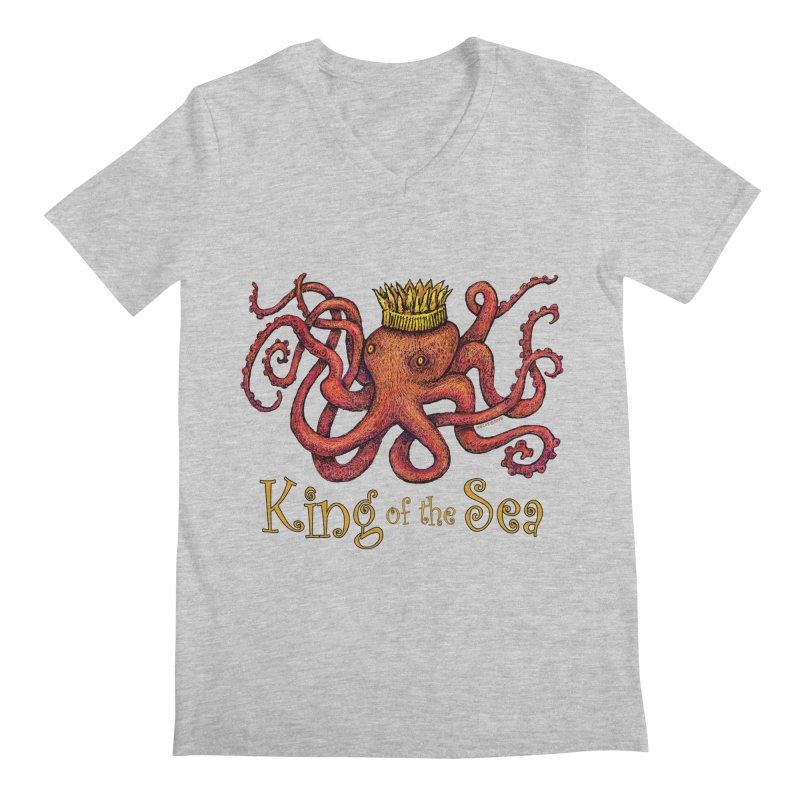 Red Octopus - King of the Sea! Men's Regular V-Neck by dotsofpaint threads