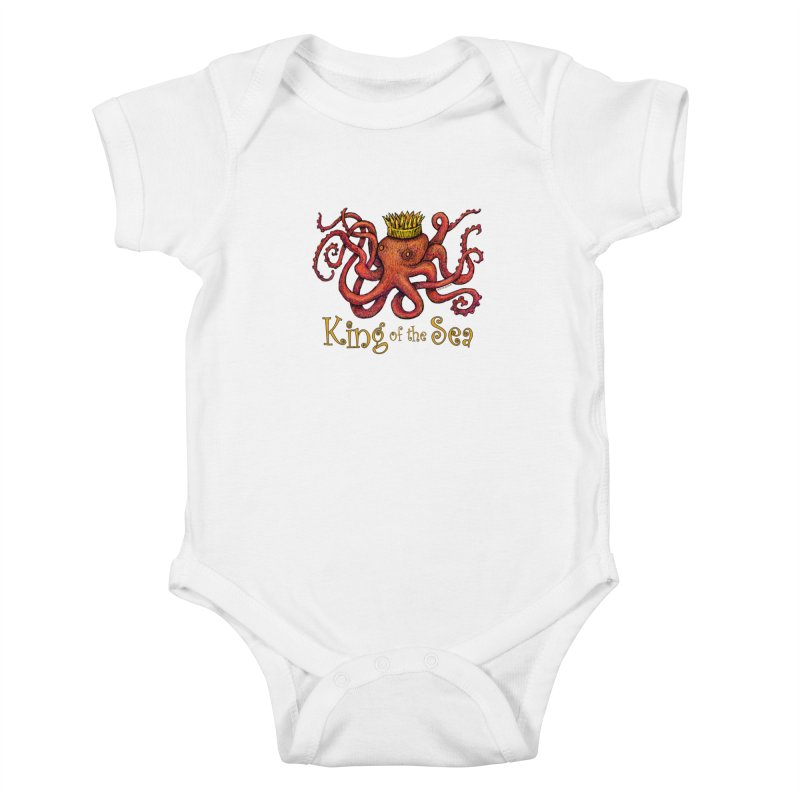 Red Octopus - King of the Sea! Kids Baby Bodysuit by dotsofpaint threads