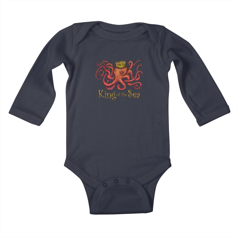 Red Octopus - King of the Sea! Kids Baby Longsleeve Bodysuit by dotsofpaint threads