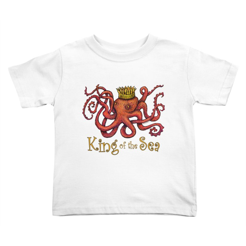 Red Octopus - King of the Sea! Kids Toddler T-Shirt by dotsofpaint threads