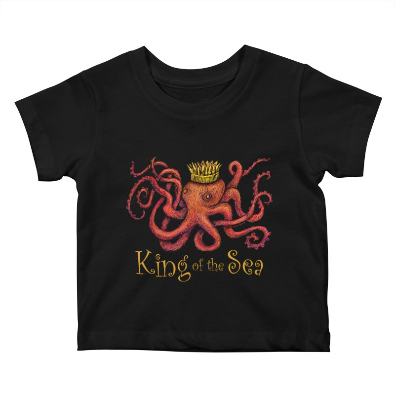 Red Octopus - King of the Sea! Kids Baby T-Shirt by dotsofpaint threads