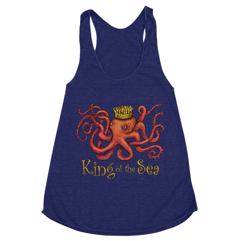 Red Octopus - King of the Sea! Women's Racerback Triblend Tank by dotsofpaint threads