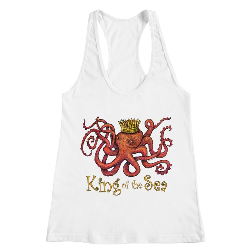 Red Octopus - King of the Sea! Women's Racerback Tank by dotsofpaint threads