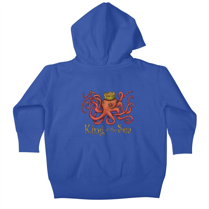 Red Octopus - King of the Sea! Kids Baby Zip-Up Hoody by dotsofpaint threads