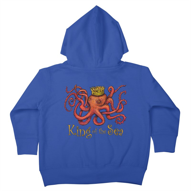 Red Octopus - King of the Sea! Kids Toddler Zip-Up Hoody by dotsofpaint threads