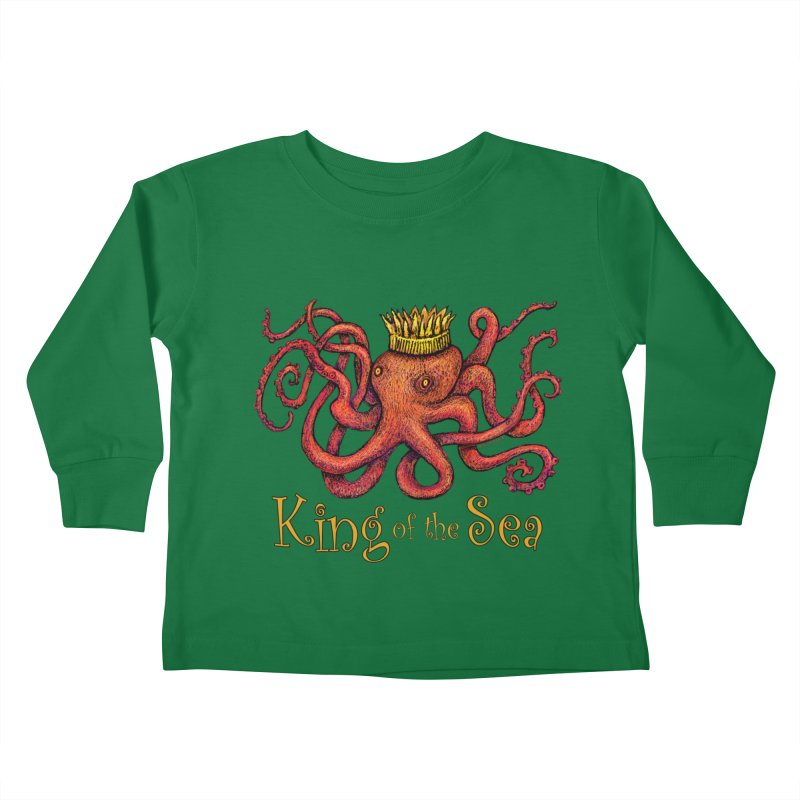Red Octopus - King of the Sea! Kids Toddler Longsleeve T-Shirt by dotsofpaint threads