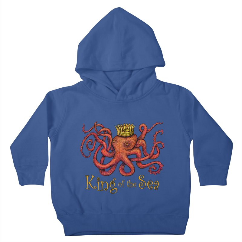Red Octopus - King of the Sea! Kids Toddler Pullover Hoody by dotsofpaint threads