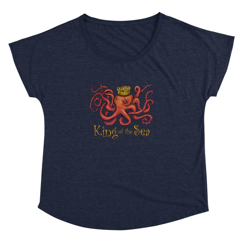 Red Octopus - King of the Sea! Women's Dolman Scoop Neck by dotsofpaint threads