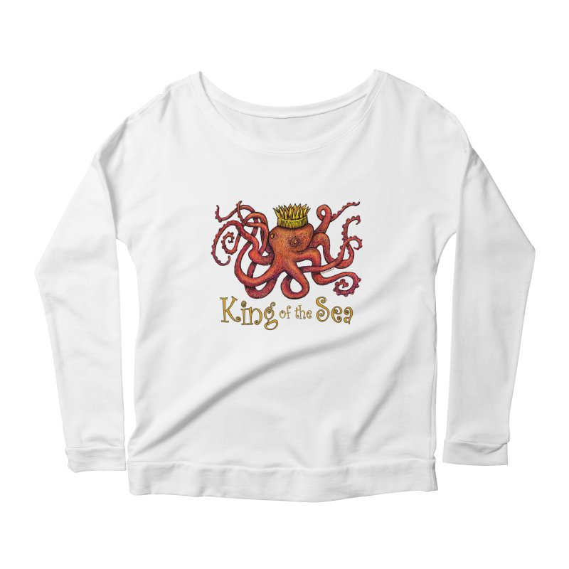 Red Octopus - King of the Sea! Women's Scoop Neck Longsleeve T-Shirt by dotsofpaint threads