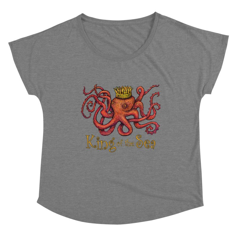 Red Octopus - King of the Sea! Women's Scoop Neck by dotsofpaint threads