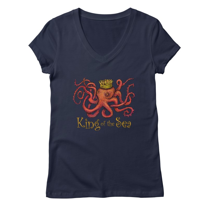 Red Octopus - King of the Sea! Women's Regular V-Neck by dotsofpaint threads
