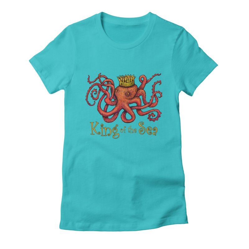Red Octopus - King of the Sea! Women's Fitted T-Shirt by dotsofpaint threads