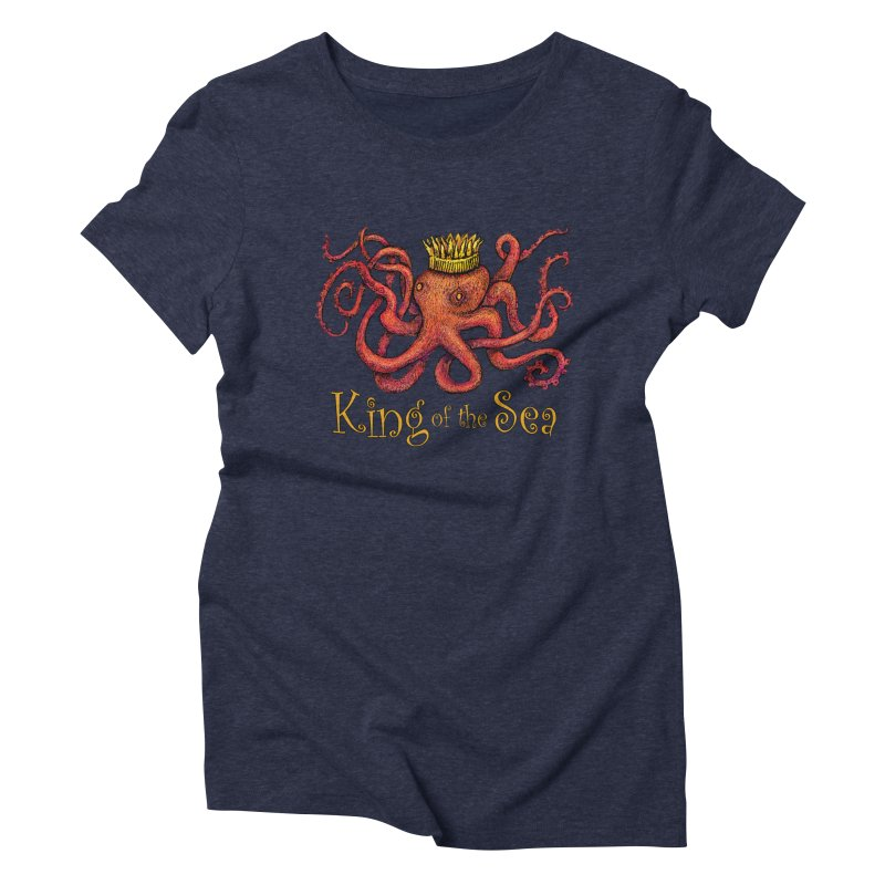 Red Octopus - King of the Sea! Women's Triblend T-Shirt by dotsofpaint threads
