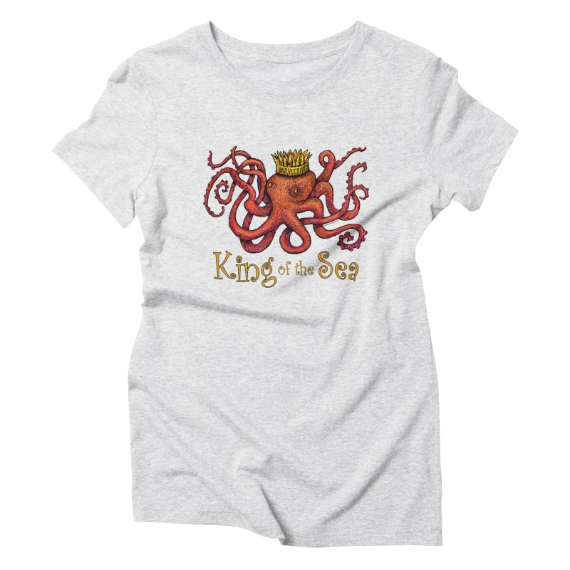 Red Octopus - King of the Sea! Women's T-Shirt by dotsofpaint threads
