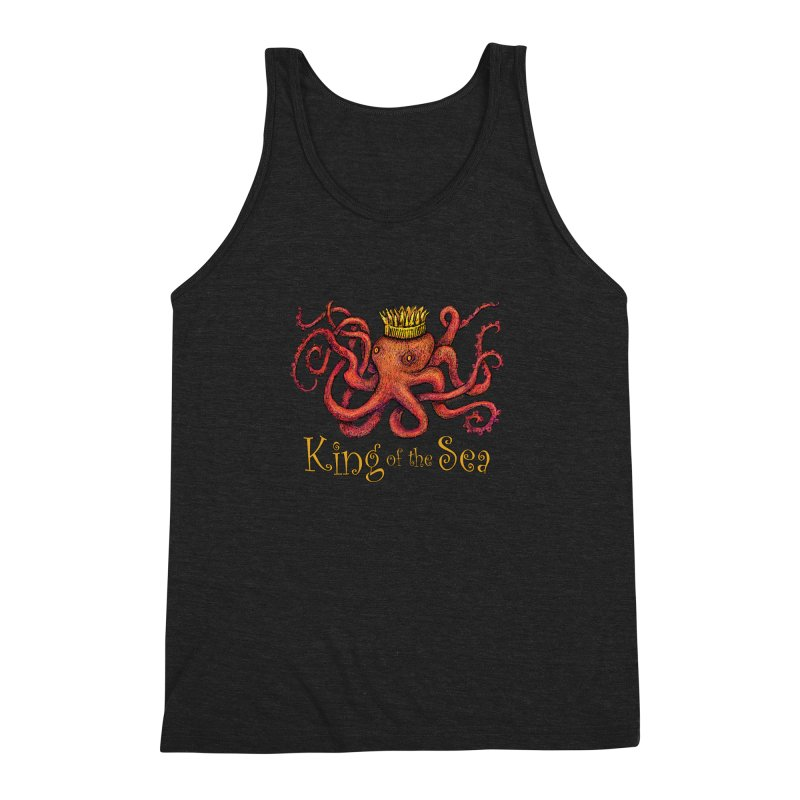 Red Octopus - King of the Sea! Men's Triblend Tank by dotsofpaint threads