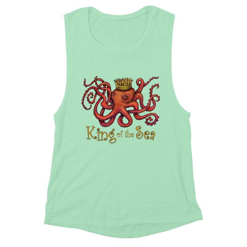 Red Octopus - King of the Sea! Women's Muscle Tank by dotsofpaint threads