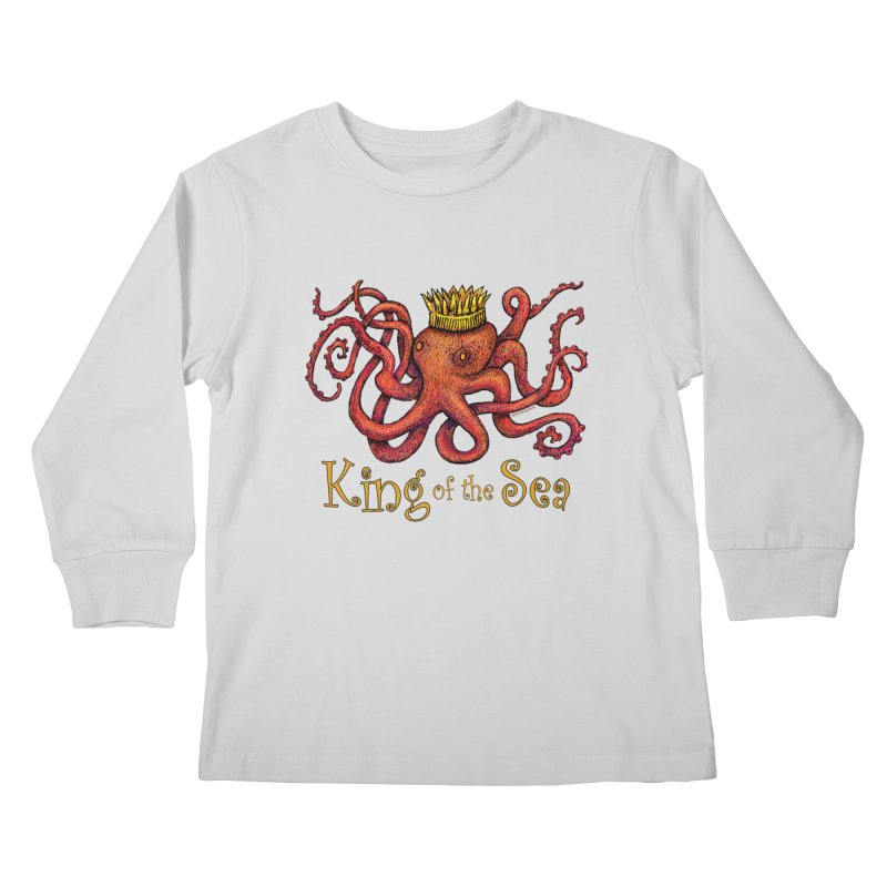 Red Octopus - King of the Sea! Kids Longsleeve T-Shirt by dotsofpaint threads
