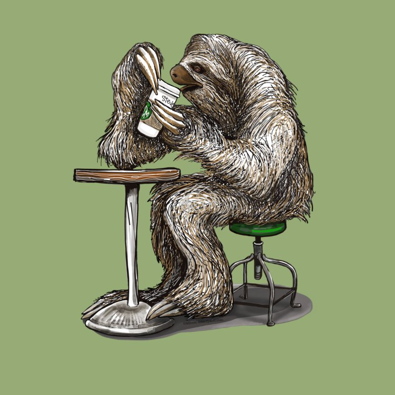 Steve the Sloth on his Coffee Break Women's Longsleeve T-Shirt by dotsofpaint threads