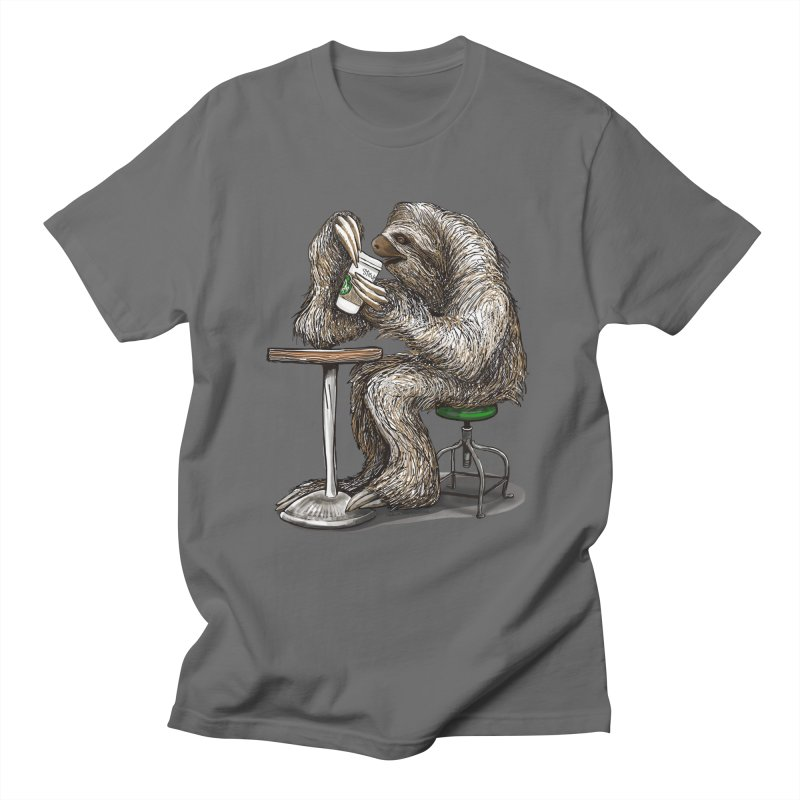 Steve the Sloth on his Coffee Break Men's T-Shirt by dotsofpaint threads