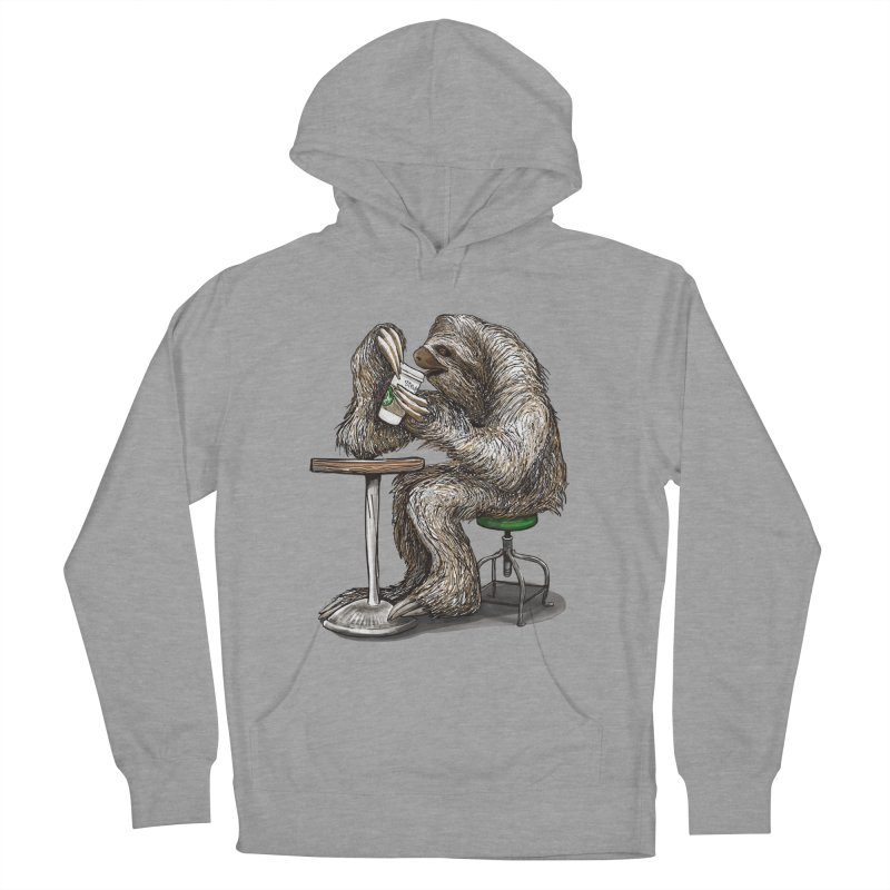 Steve the Sloth on his Coffee Break Women's French Terry Pullover Hoody by dotsofpaint threads