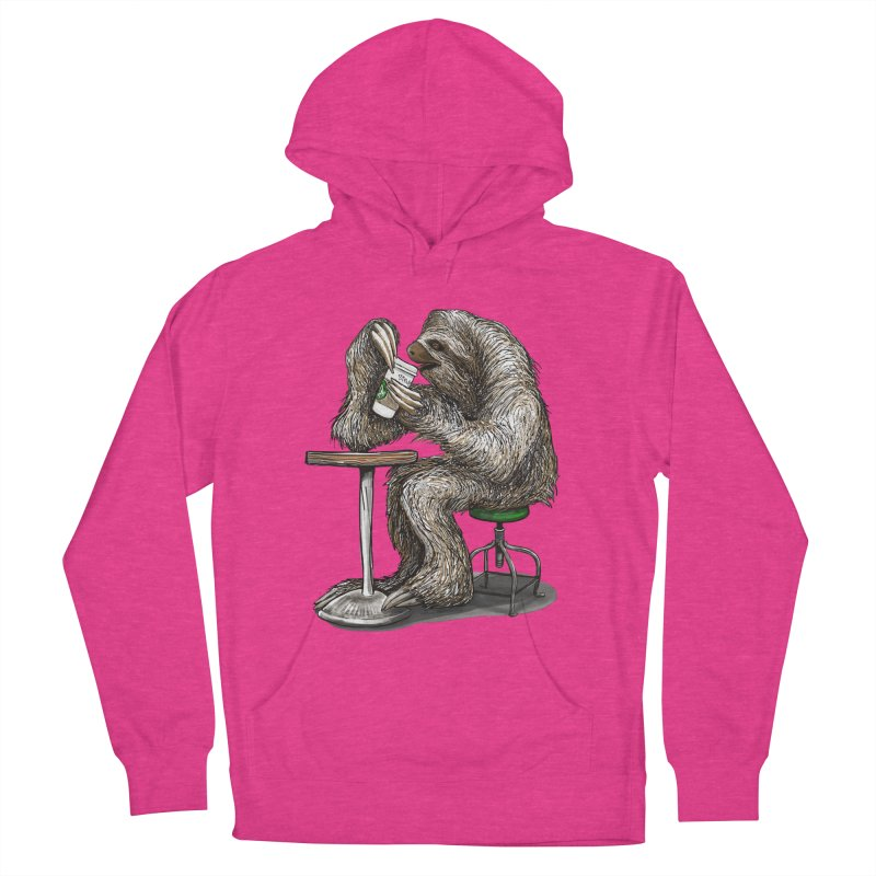 Steve the Sloth on his Coffee Break Men's French Terry Pullover Hoody by dotsofpaint threads
