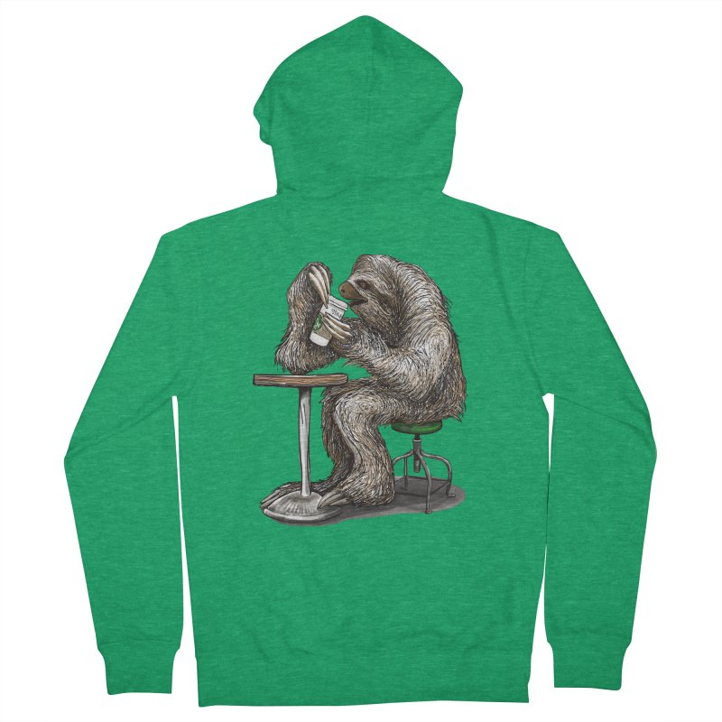 Steve the Sloth on his Coffee Break Women's Zip-Up Hoody by dotsofpaint threads