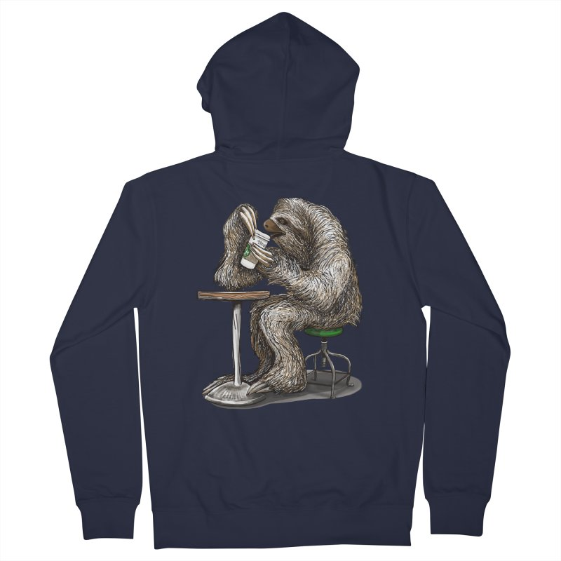 Steve the Sloth on his Coffee Break Men's French Terry Zip-Up Hoody by dotsofpaint threads