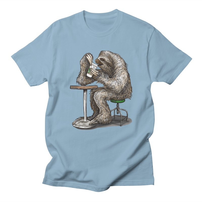 Steve the Sloth on his Coffee Break Men's Regular T-Shirt by dotsofpaint threads