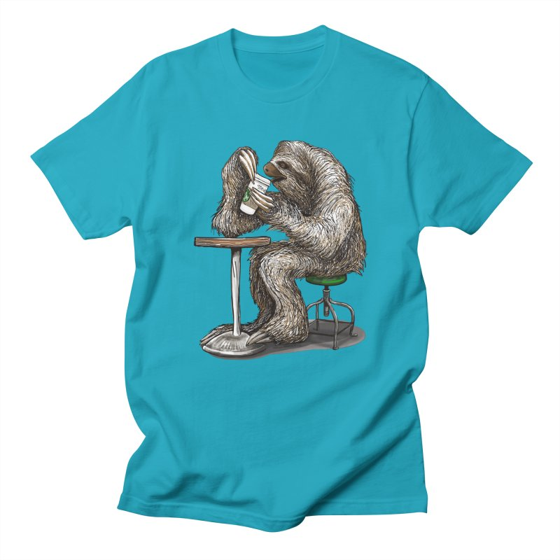 Steve the Sloth on his Coffee Break Men's Regular T-Shirt by dotsofpaint threads