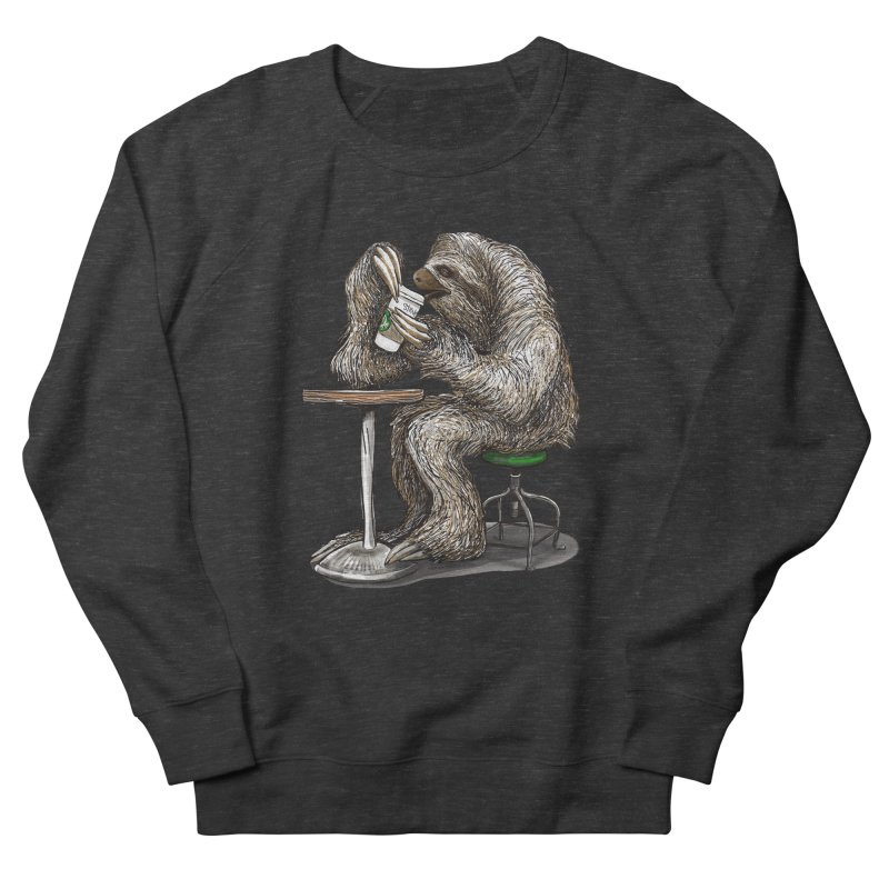 Steve the Sloth on his Coffee Break Women's French Terry Sweatshirt by dotsofpaint threads