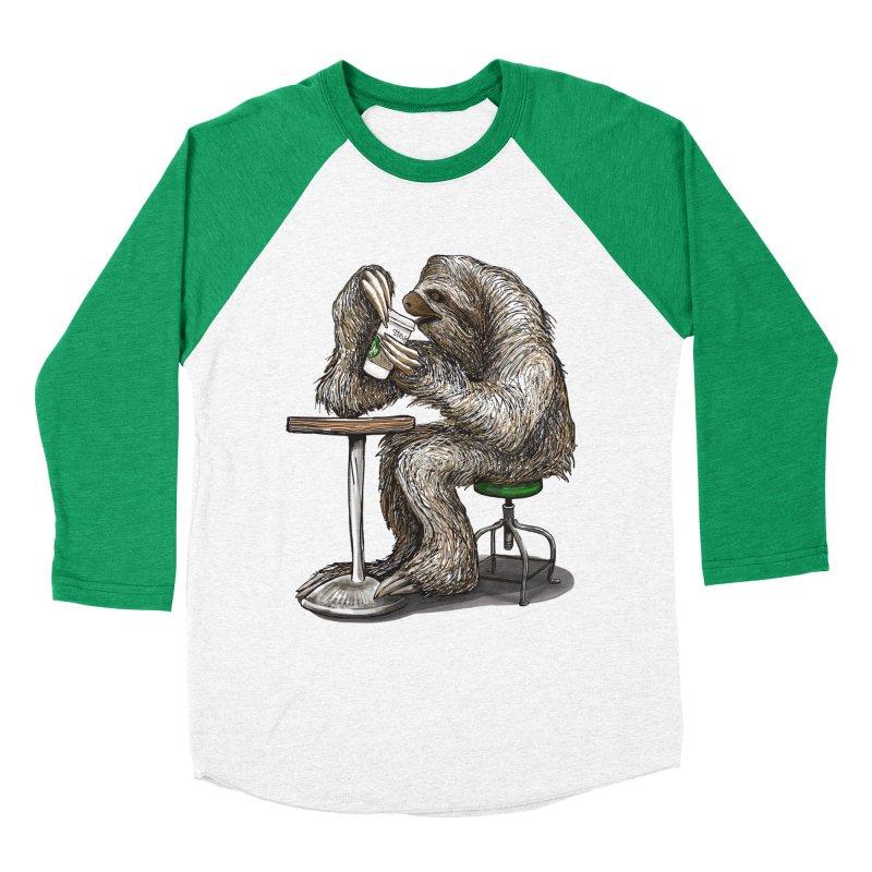 Steve the Sloth on his Coffee Break Women's Baseball Triblend Longsleeve T-Shirt by dotsofpaint threads