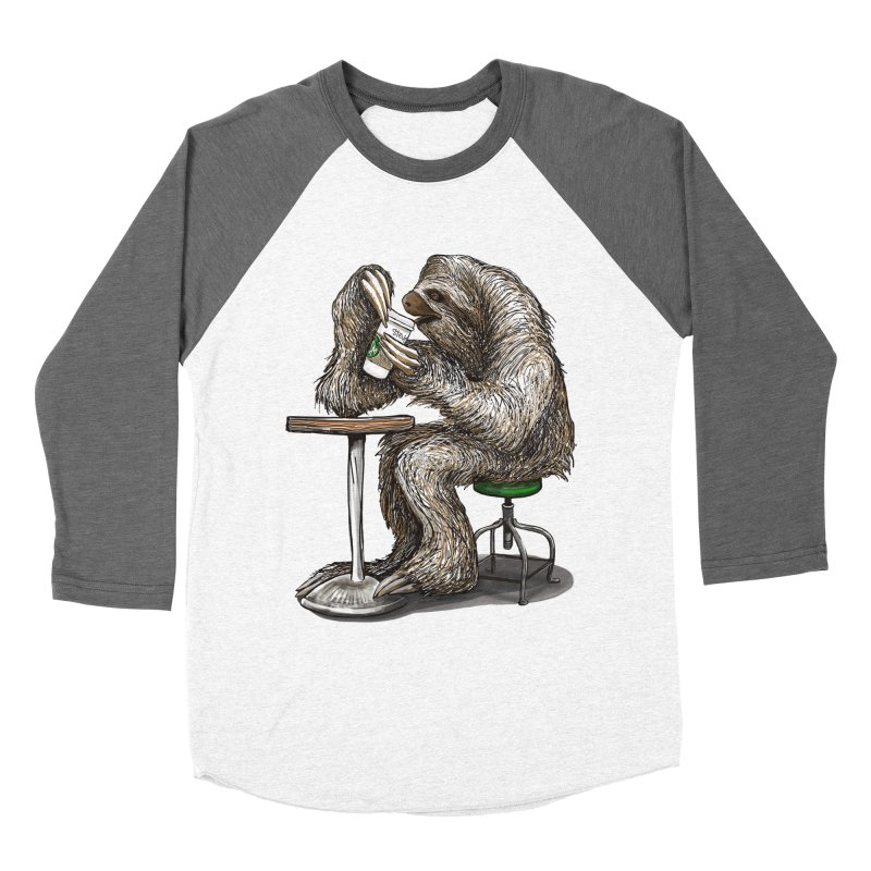 Steve the Sloth on his Coffee Break Men's Baseball Triblend Longsleeve T-Shirt by dotsofpaint threads