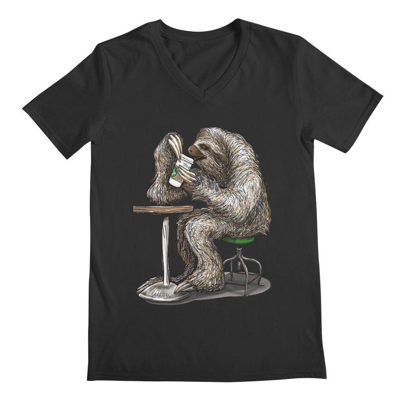 Steve the Sloth on his Coffee Break Men's Regular V-Neck by dotsofpaint threads