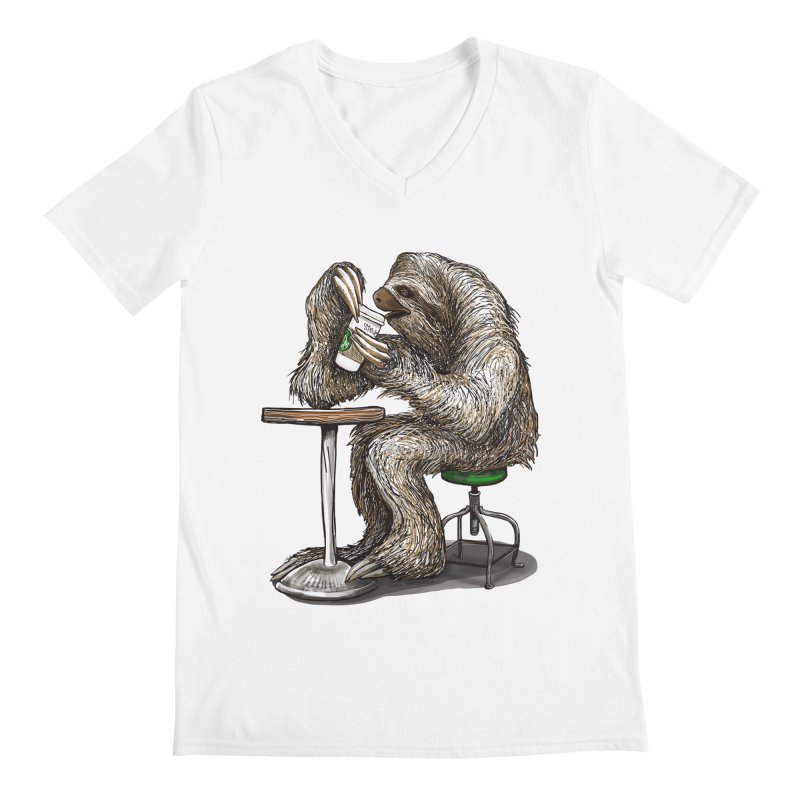 Steve the Sloth on his Coffee Break Men's Regular V-Neck by dotsofpaint threads
