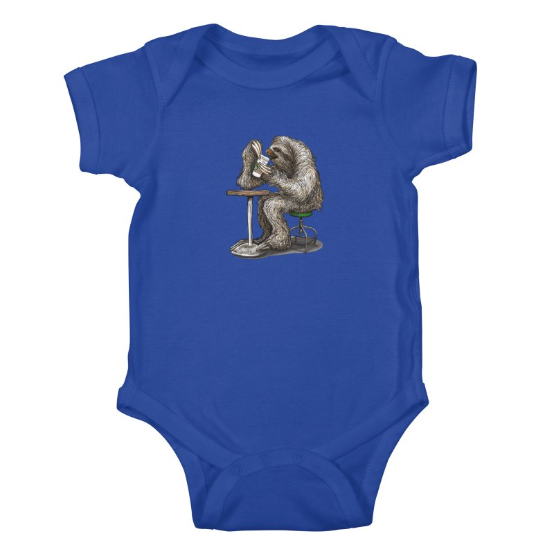 Steve the Sloth on his Coffee Break Kids Baby Bodysuit by dotsofpaint threads