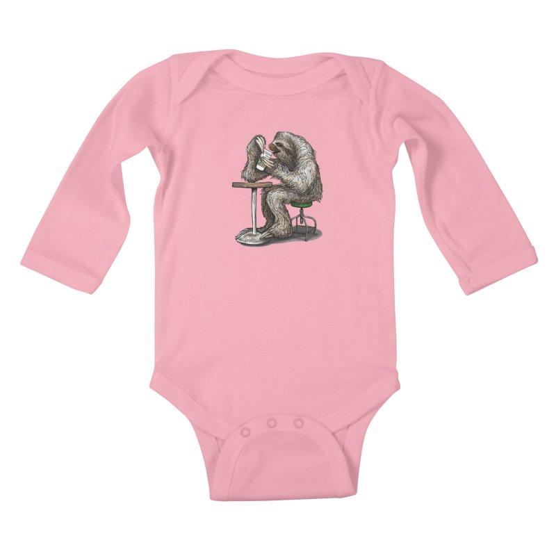 Steve the Sloth on his Coffee Break Kids Baby Longsleeve Bodysuit by dotsofpaint threads