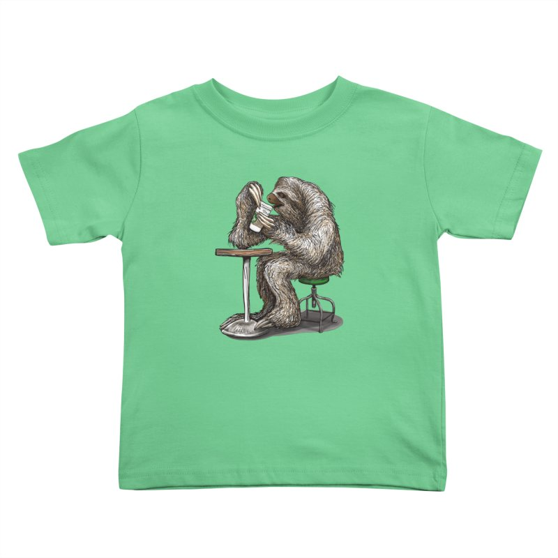Steve the Sloth on his Coffee Break Kids Toddler T-Shirt by dotsofpaint threads