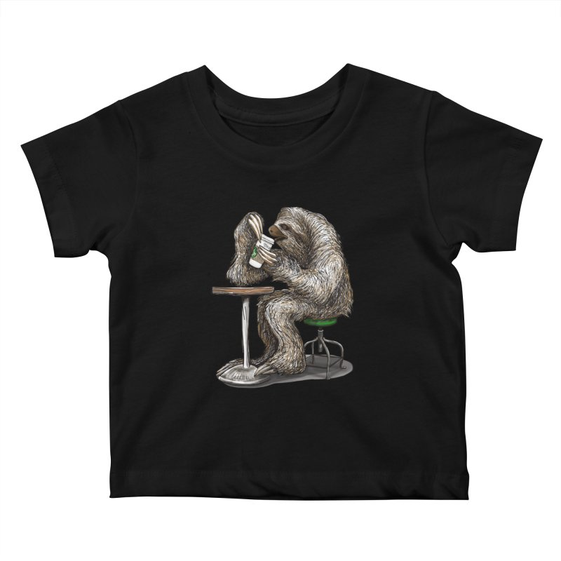 Steve the Sloth on his Coffee Break Kids Baby T-Shirt by dotsofpaint threads