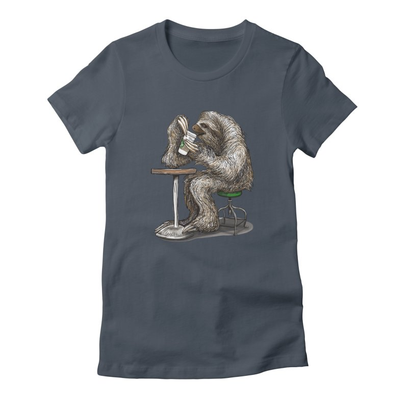 Steve the Sloth on his Coffee Break Women's T-Shirt by dotsofpaint threads